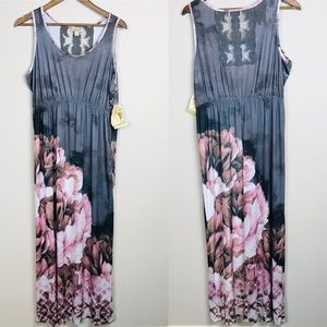 One World Gray Floral Sleeveless Maxi Dress